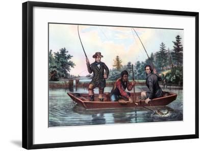 Catching a Trout, 1854-Currier & Ives-Framed Giclee Print