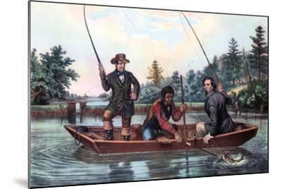 Catching a Trout, 1854-Currier & Ives-Mounted Giclee Print