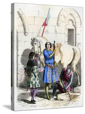 Knight Served by a Squire and Page, End of the 12th Century (1882-188)- Deghouly-Stretched Canvas Print