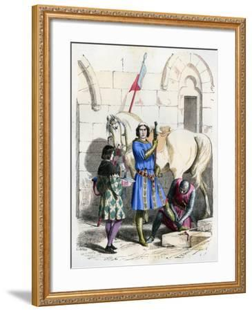 Knight Served by a Squire and Page, End of the 12th Century (1882-188)- Deghouly-Framed Giclee Print