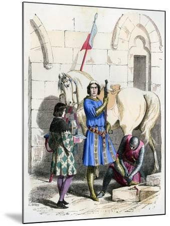 Knight Served by a Squire and Page, End of the 12th Century (1882-188)- Deghouly-Mounted Giclee Print