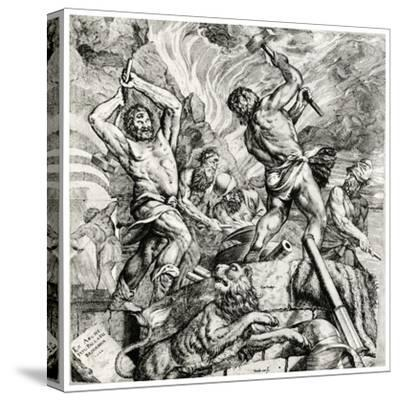 Vulcan's Forge, 16th Century-Cornelis Cort-Stretched Canvas Print