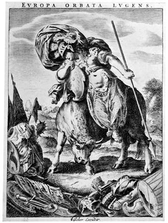 Allegorial View of Europe, Early 17th Century-Cornelis de Visscher-Framed Giclee Print