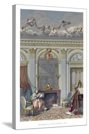 Interior under Louis XVI- Durin-Stretched Canvas Print