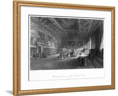 Hall of the Council of 'Five Hundred, Venice, Italy, 19th Century-E Challis-Framed Giclee Print