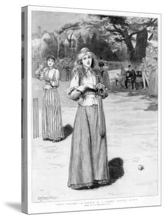 Well Played! - a Sketch at a Ladies' Cricket Match, 1890-Edward Frederick Brewtnall-Stretched Canvas Print