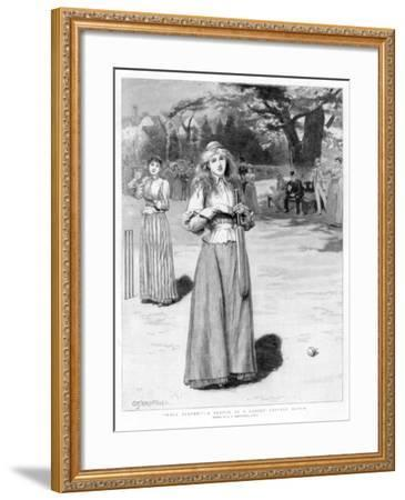 Well Played! - a Sketch at a Ladies' Cricket Match, 1890-Edward Frederick Brewtnall-Framed Giclee Print