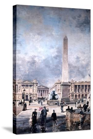 Obelisk of Luxor and the Place De La Concorde, 1891-Emmanuel Lansyer-Stretched Canvas Print