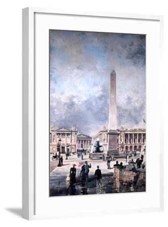 Obelisk of Luxor and the Place De La Concorde, 1891-Emmanuel Lansyer-Framed Giclee Print