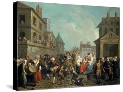 Carnival in the Streets of Paris, 1757-Etienne Jeaurat-Stretched Canvas Print