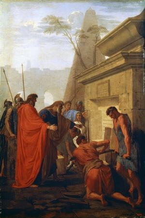 Darius the Great Opening the Tomb of Nitocris, 17th Century-Eustache Le Sueur-Framed Giclee Print