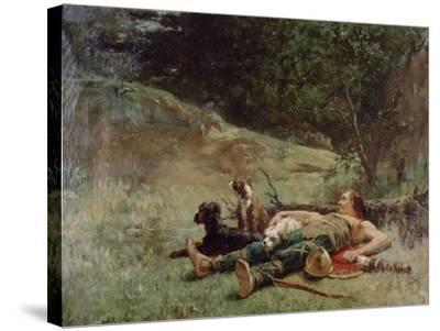 The Rest of a Hunter with Dogs, C1842-1896-Evariste Vital Luminais-Stretched Canvas Print