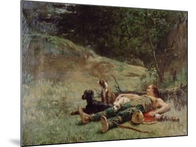 The Rest of a Hunter with Dogs, C1842-1896-Evariste Vital Luminais-Mounted Giclee Print