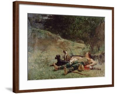 The Rest of a Hunter with Dogs, C1842-1896-Evariste Vital Luminais-Framed Giclee Print