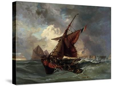 Ships in a Stormy Sea, 19th Century-Eugene Delacroix-Stretched Canvas Print