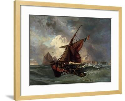 Ships in a Stormy Sea, 19th Century-Eugene Delacroix-Framed Giclee Print