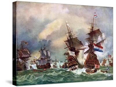 The Battle of Texel, 1673 (C192)-Eugene Isabey-Stretched Canvas Print