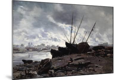 Boats Waiting for the Tide, 1882-Emmanuel Lansyer-Mounted Giclee Print