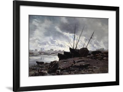 Boats Waiting for the Tide, 1882-Emmanuel Lansyer-Framed Giclee Print