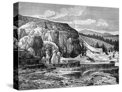 Mammoth Hot Springs, Yellowstone National Park, USA, 19th Century-Edouard Riou-Stretched Canvas Print