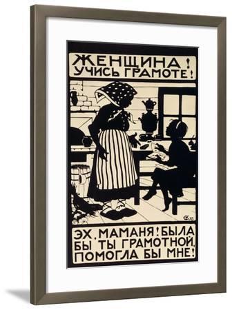 Woman! Learn Your Letters!, 1923-Elizaveta Sergeevna Kruglikova-Framed Giclee Print