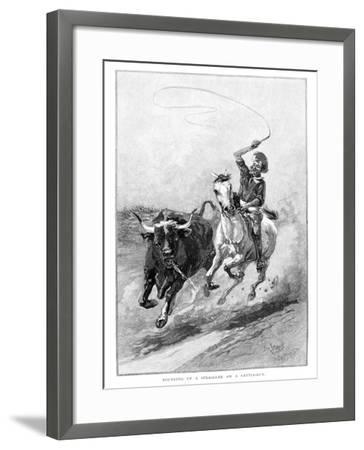 Rounding Up a Straggler on a Cattle Run, Australia, 1886-Frank P Mahony-Framed Giclee Print