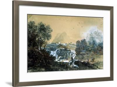 Landscape with a Waterfall, Italian Painting of 18th Century-Francesco Zuccarelli-Framed Giclee Print