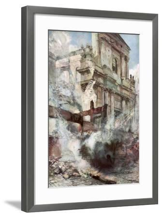 Arras Cathedral on Fire, France, July 1915-Francois Flameng-Framed Giclee Print