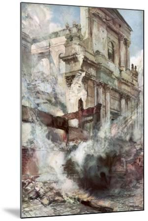 Arras Cathedral on Fire, France, July 1915-Francois Flameng-Mounted Giclee Print