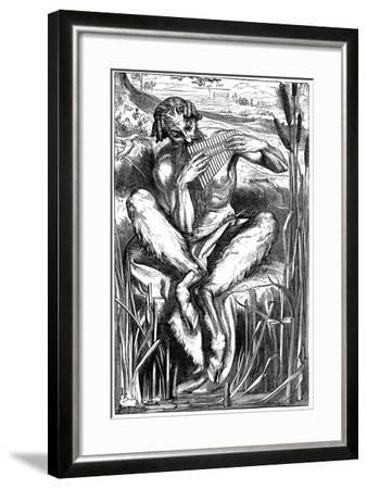 Pan Playing His Pipes, Wood Engraving, London, 1862-Frederic Leighton-Framed Giclee Print