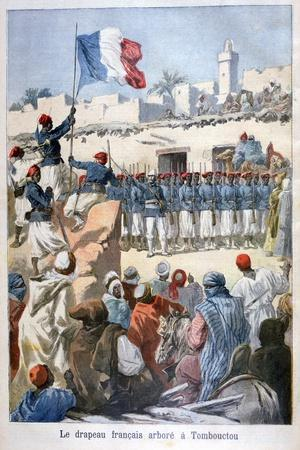 The Raising of the French Flag at Timbuktu, 1894-Frederic Lix-Stretched Canvas Print