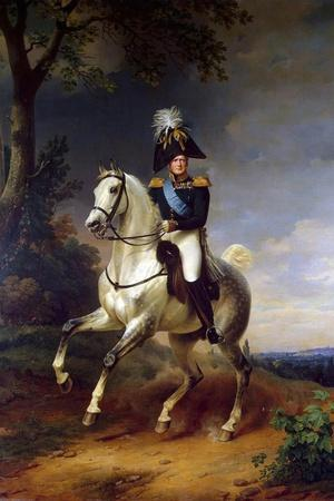 Equestrian Portrait of Emperor Alexander I, (1777-182), 1837-Franz Kruguer-Stretched Canvas Print