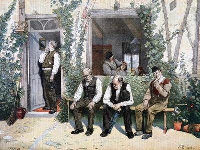 At the Barber's, 1895-F Meaulle-Framed Giclee Print