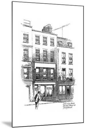Percy Bysshe Shelley's House, Poland Street, Borough of Westminster, London, 1912-Frederick Adcock-Mounted Giclee Print