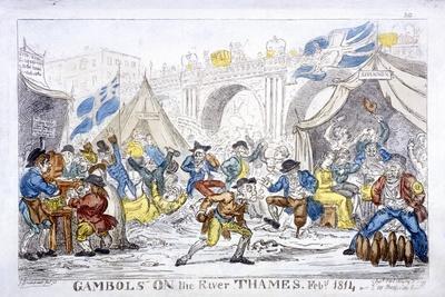 Gambols on the River Thames, Feby, 1814-George Cruikshank-Framed Giclee Print