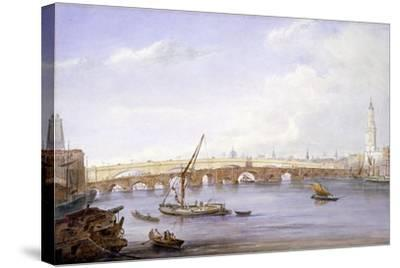 Old and New London Bridges, London, 1831-George Scharf-Stretched Canvas Print