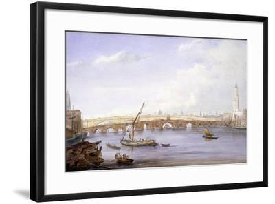 Old and New London Bridges, London, 1831-George Scharf-Framed Giclee Print