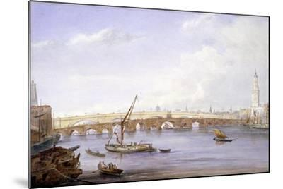 Old and New London Bridges, London, 1831-George Scharf-Mounted Giclee Print