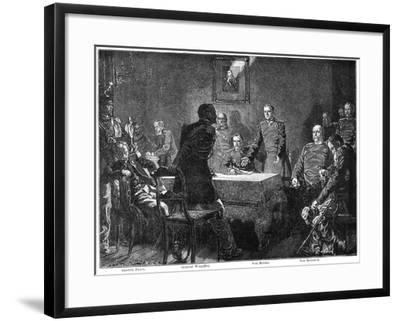 Discussing the Surrender of France after the Battle of Sedan, Franco-Prussian War, 1870-Georg Bleibtreu-Framed Giclee Print