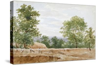 View from the Excavations of Highgate Tunnel, London, 1812-George Arnald-Stretched Canvas Print