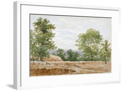 View from the Excavations of Highgate Tunnel, London, 1812-George Arnald-Framed Giclee Print