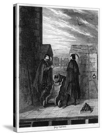 Simon Renard and Winwike the Warden on the Roof of the White Tower, 1553-George Cruikshank-Stretched Canvas Print