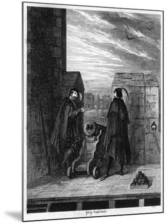 Simon Renard and Winwike the Warden on the Roof of the White Tower, 1553-George Cruikshank-Mounted Giclee Print