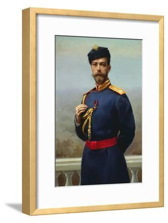 Tsar Nicholas II of Russia with the Cross of Saint Vladimir, 1905-Genrich Maniser-Framed Giclee Print