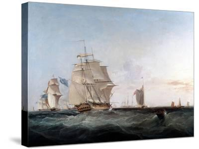 Merchantmen and Other Shipping in the English Channel, 19th Century-George Chambers-Stretched Canvas Print