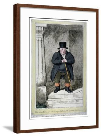 One of the Lions - or the Living Statue at the London Museum, 1817-George Cruikshank-Framed Giclee Print