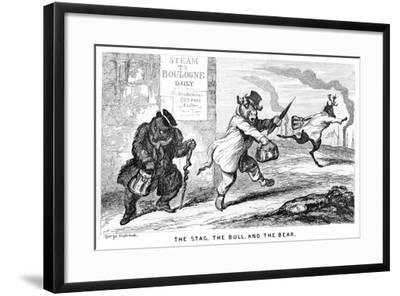 The Stag, the Bull, and the Bear, 19th Century-George Cruikshank-Framed Giclee Print