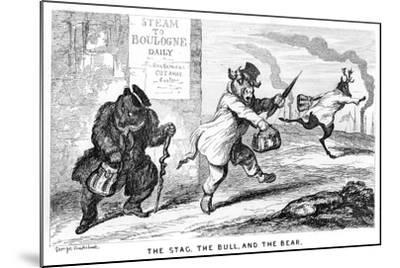 The Stag, the Bull, and the Bear, 19th Century-George Cruikshank-Mounted Giclee Print