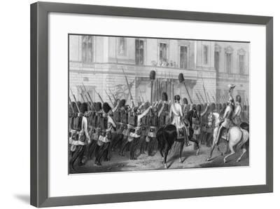Queen Victoria Receiving the Guards at Buckingham Palace, 1857-G Greatbach-Framed Giclee Print
