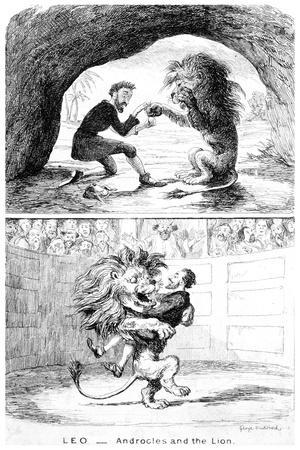 Leo - Androcles and the Lion, 19th Century-George Cruikshank-Premium Giclee Print